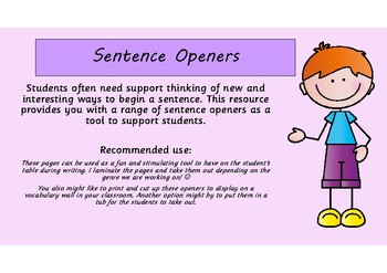 New and Interesting Sentence Openers