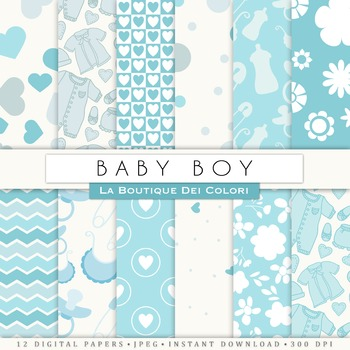 New baby Boy Digital Paper, scrapbook backgrounds.