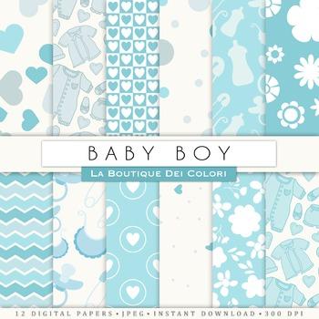 New baby Boy Digital Paper, scrapbook backgrounds.