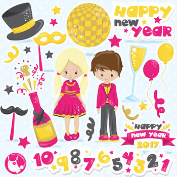 new year kids clipart commercial use vector graphics digital cl1052