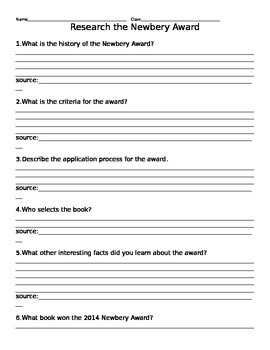 Newbery Award Research Worksheet