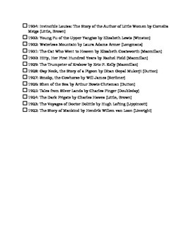 Newbery Award Winners checklist