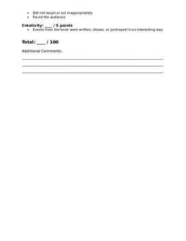 Newbery Book Report Directions and Rubric