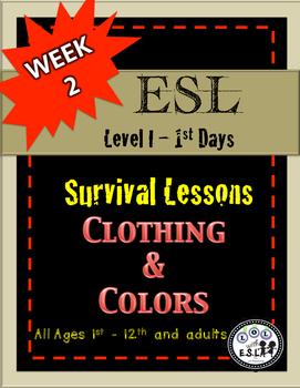 Newbie ESL newcomer SURVIVAL lessons unit 2 Clothing Colors