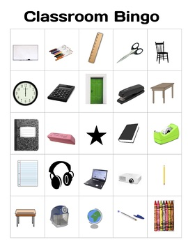 Newcomer ELL Classroom Object Bingo