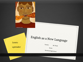 "Newcomer ENL ELL ESL First Day of English Class ""Why learn a new language?"""