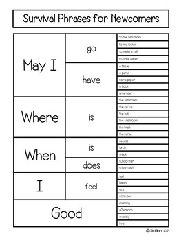 Newcomer Survival Phrases FREEBIE!
