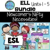 ESL Newcomers Bundle   1st 5 Units Introductions, School, Verbs, Colors, Veg.