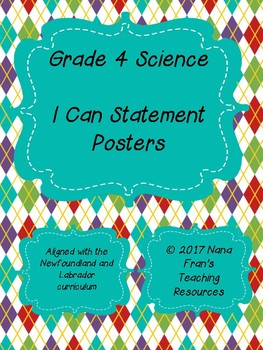 Newfoundland and Labrador  Grade 4 Science I Can Statement Posters