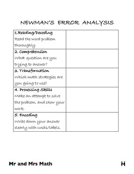 Newmans Error Analysis for Word Problems