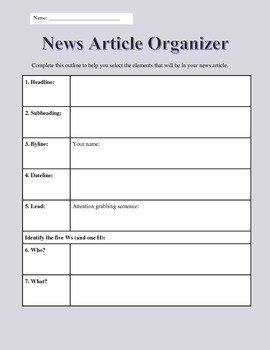 News Article Graphic Organizer