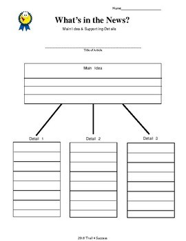 News Article Graphic Organizer for Weekly Reader, Scholastic News, etc.