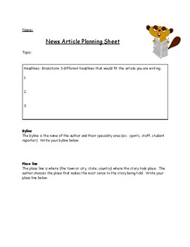 News Article Planning Sheet