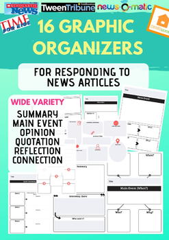 News Article Reading Responses - 16 Graphic Organizers!