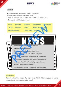 News C1 Advanced Lesson Plan For ESL