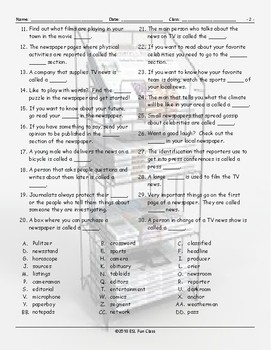 News Media Missing Letters Worksheet