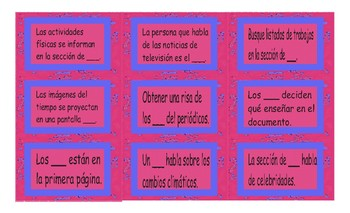 News Media Spanish Card Game