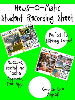 News-O-Matic Student Recording Sheet - Listening Center