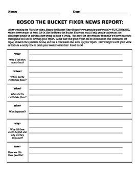 News Report Activity - Bosco the Bucket Fixer