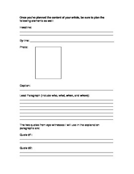 News Report Planning and Graphic Organizer