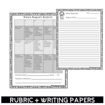 News Reporter - Weekly Oral Presentation with Rubric