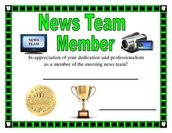 News Team Certificate