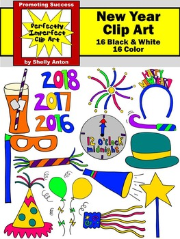 News Year's Day Clip Art, New Year's Eve Party, January Clipart, Celebration