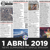 News summaries for Spanish students - April 1, 2019
