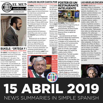 News summaries for Spanish students - April 15, 2019