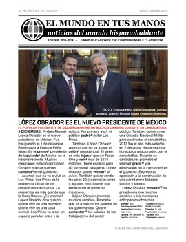 News summaries for Spanish students - December 10, 2018
