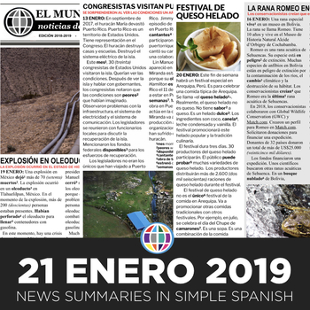 News summaries for Spanish students - January 21, 2019
