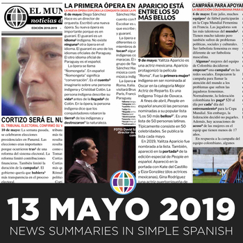 News summaries for Spanish students - May 13, 2019