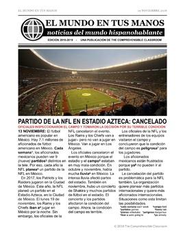 News summaries for Spanish students - November 19, 2018