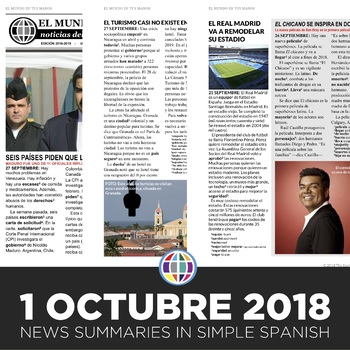 News summaries for Spanish students - October 1, 2018