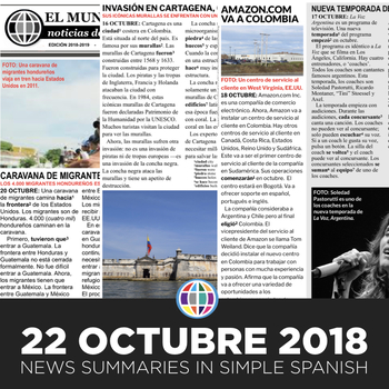 News summaries for Spanish students - October 22, 2018