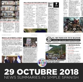 News summaries for Spanish students - October 29, 2018