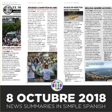 News summaries for Spanish students - October 8, 2018