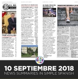 News summaries for Spanish students - September 10, 2018