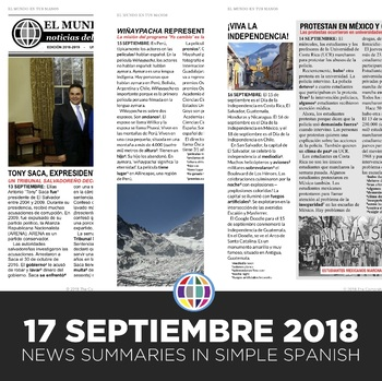 News summaries for Spanish students - September 17, 2018