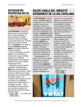 News summaries for Spanish teachers: November 13, 2017