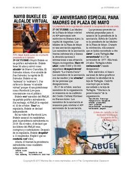 News summaries for Spanish teachers: October 30, 2017