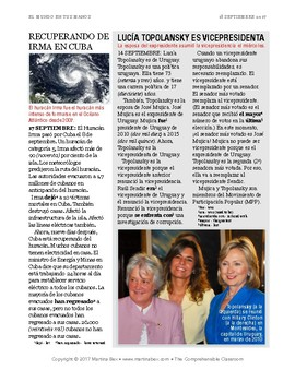 News summaries for Spanish teachers: September 18, 2017