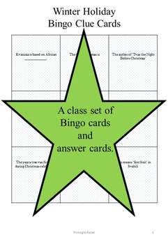 WebQuest and Bingo: Winter Holidays-- Christmas, Hanukkah, Kwanzaa