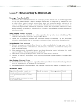 Newscast / Newspaper Unit (Lesson 9) - Headlines & Classifieds