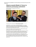 PARCC QUESTIONS: Obama awards Medal of Honor to Veterans P