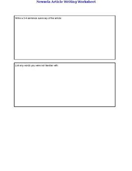 Newsela Article Writing Worksheet