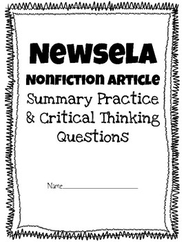 Newsela or any Nonfiction Article Sample- Summarizing & Beyond/About the Text ?s