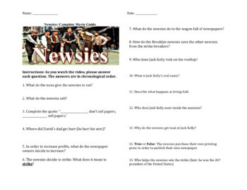Newsies - Introductory Reading and Complete Movie Guide