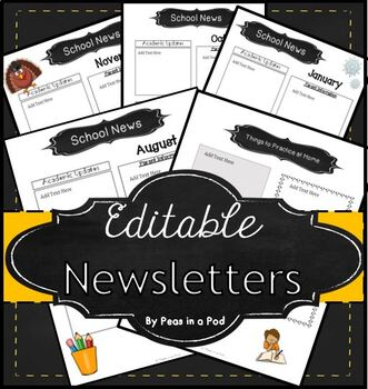 Editable Newsletter Templates (12 included) Seasonal Theme