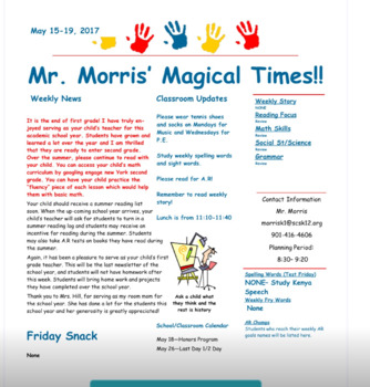 elementary newsletter templates teaching resources teachers pay